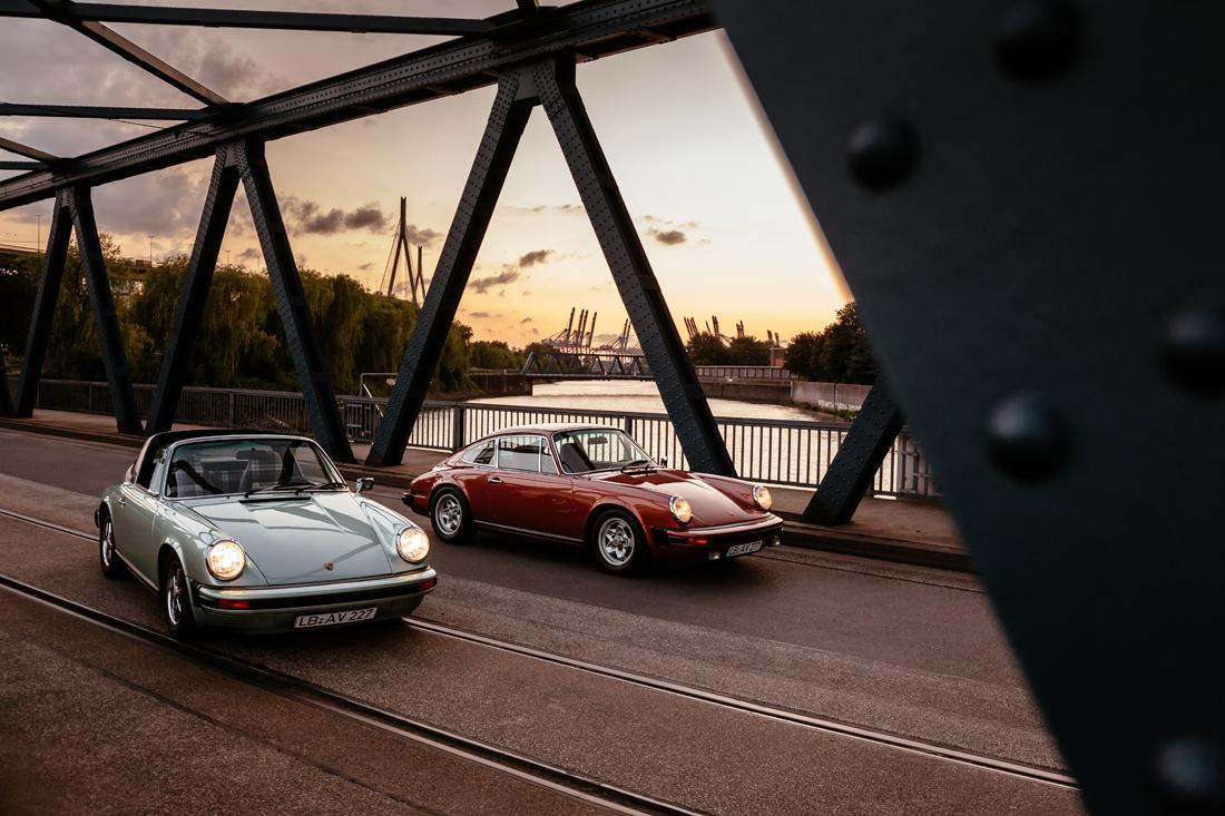 Porsche 911S in lachsdiamant und Porsche 911S Targa in eisgründiamant