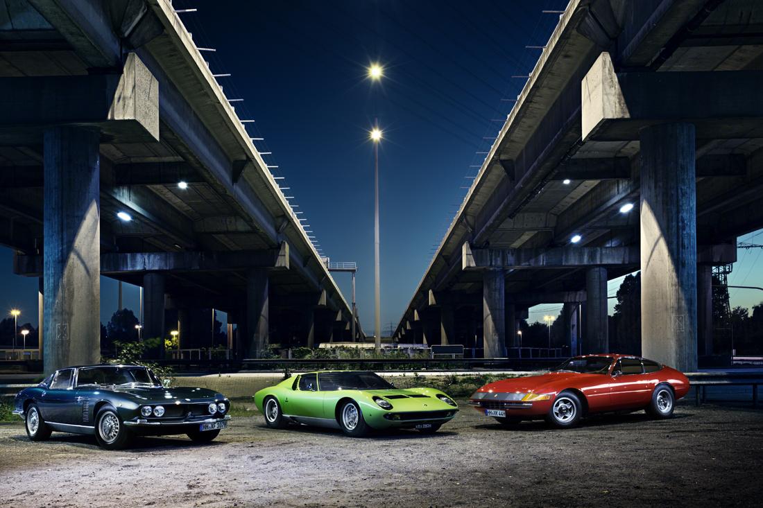 Lamborghini Miura, Ferrari Daytona und Iso Grifo